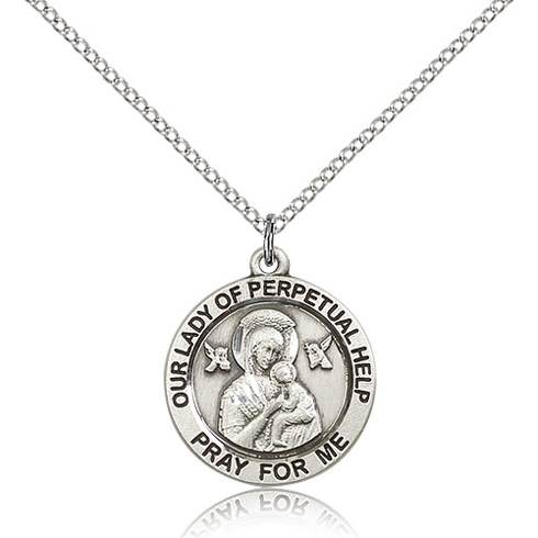 Sterling Silver 3/4in Round Lady of Perpetual Help Medal & 18in Chain