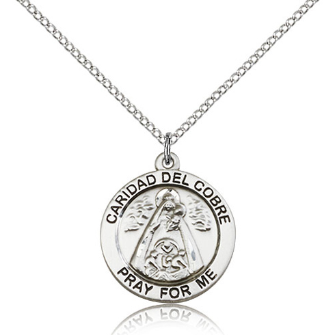 Sterling Silver 3/4in St Caridad del Cobre Medal & 18in Chain