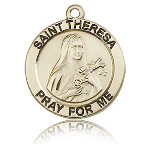 14kt Yellow Gold 3/4in St Theresa Medal