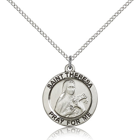 Sterling Silver 3/4in Round St Theresa Medal & 18in Chain