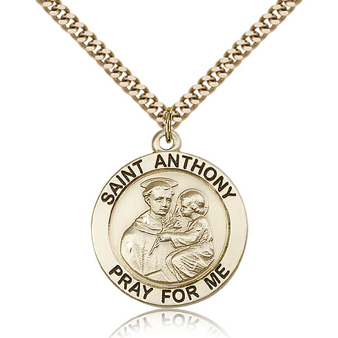 Gold Filled 1in St Anthony Medal & 24in Chain