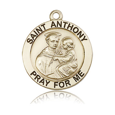 14kt Yellow Gold 1in St Anthony Medal