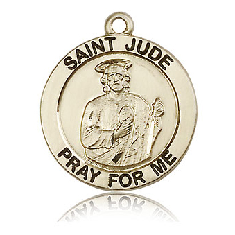 14kt Yellow Gold 1in St Jude Medal
