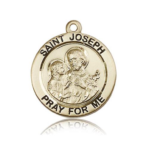14kt Yellow Gold 1in St Joseph Medal