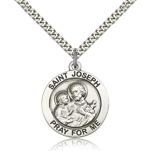 Sterling Silver 1in Round St Joseph Medal & 24in Chain
