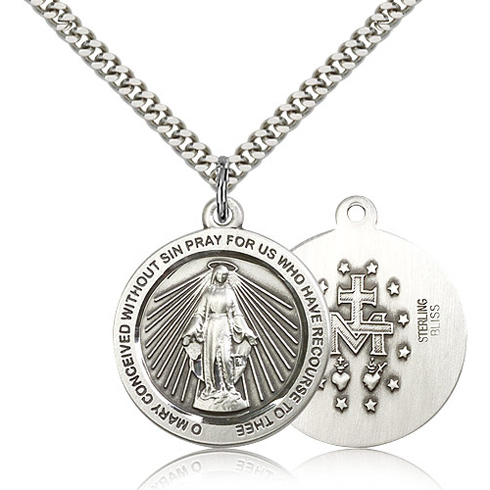 Sterling Silver 1in Round Miraculous Medal & 24in Chain