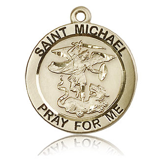 14kt Yellow Gold 1in St Michael Medal
