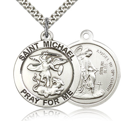 Sterling Silver 1in Round Pray for Me St Michael Medal & 24in Chain