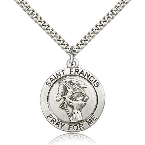 Sterling Silver 1in Round St Francis Medal & 24in Chain