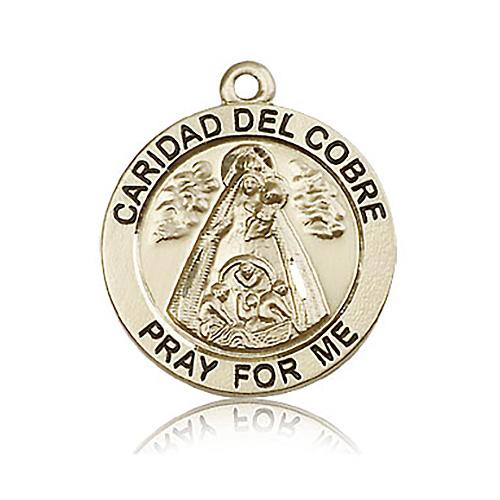 14kt Yellow Gold 1in Caridad del Cobre Medal