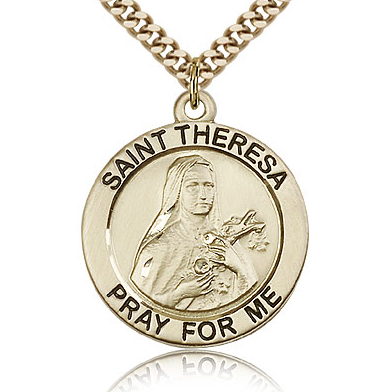 Gold Filled 1in Round St Theresa Medal & 24in Chain