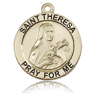 Round 14kt Yellow Gold 1in St Theresa Medal