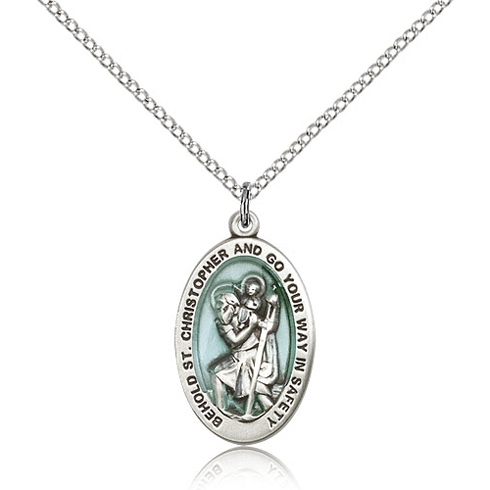 Sterling Silver 7/8in Blue St Christopher Medal & 18in Chain