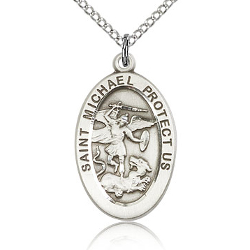 Sterling Silver 7/8in St Michael Medal & 18in Chain