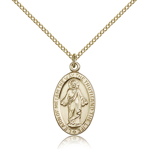 Gold Filled 7/8in Scapular Medal & 18in Chain