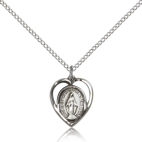 Sterling Silver 5/8in Heart Miraculous Medal & 18in Chain