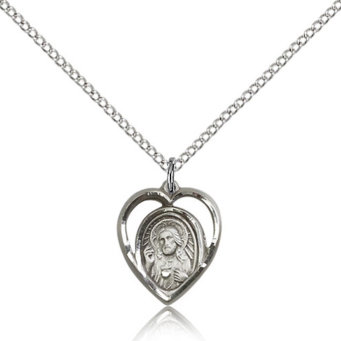 Sterling Silver 5/8in Scapular Medal Charm & 18in Chain