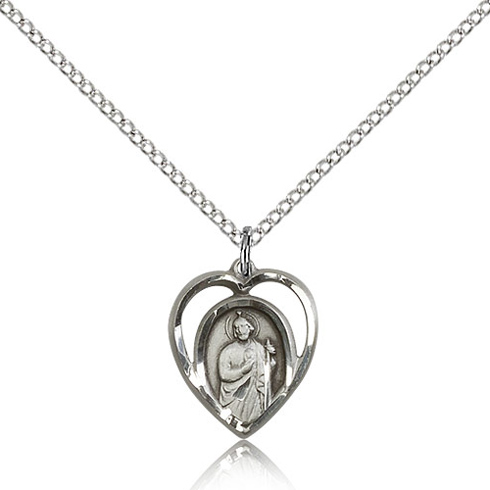 Sterling Silver 5/8in St Jude Heart Charm & 18in Chain