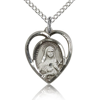 Sterling Silver 5/8in St Theresa Heart Charm & 18in Chain