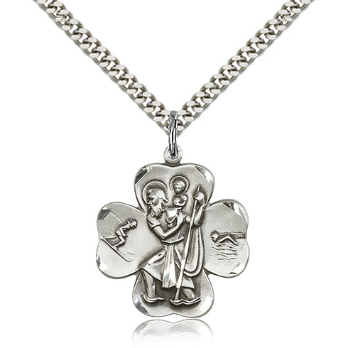 Sterling Silver 1in St Christopher Clover Medal & 24in Chain