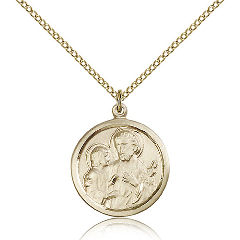 Gold Filled 7/8in St Joseph Medal & 18in Chain