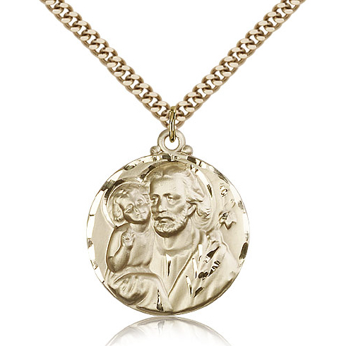 Gold Filled 1 1/8in St Joseph Medal & 24in Chain