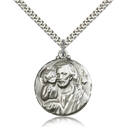 Sterling Silver 1 1/8in Round St Joseph Medal & 24in Chain