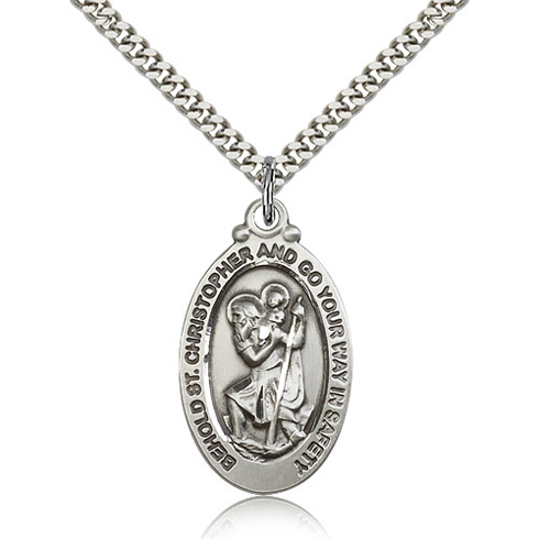 Sterling Silver 1 1/8in Behold St Christopher Medal & 24in Chain