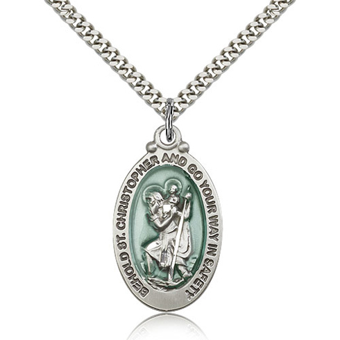 Sterling Silver 1 1/8in Blue St Christopher Medal & 24in Chain