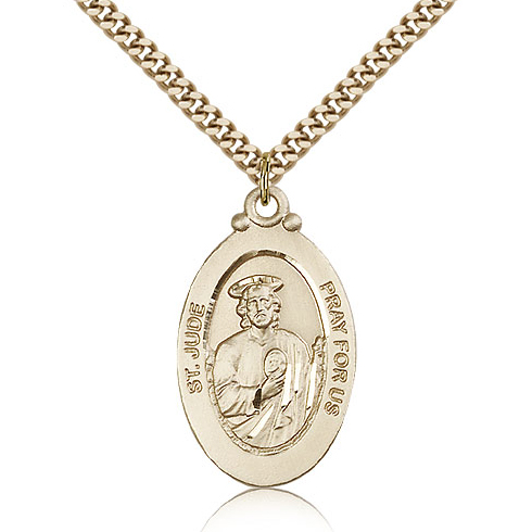 Gold Filled 1 1/8in St Jude Medal & 24in Chain