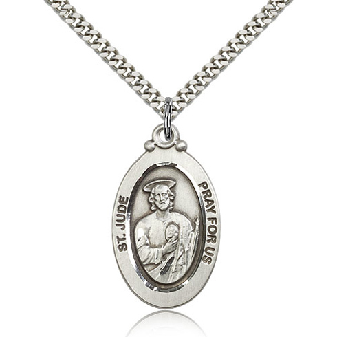 Sterling Silver 1 1 8in St Jude Medal Amp 24in Chain 4145jss 24s