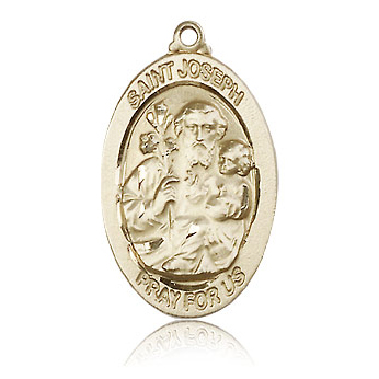 14kt Yellow Gold 1 1/8in St Joseph Medal