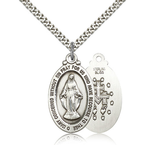 Sterling Silver 1 1/8in Miraculous Medal & 24in Chain