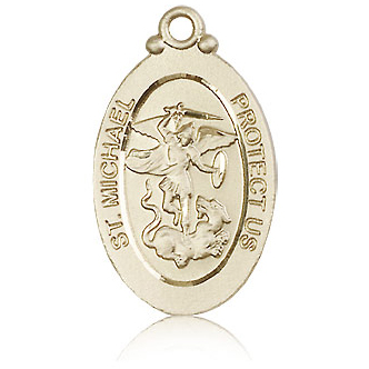 14kt Yellow Gold 1 1/8in St Michael Medal