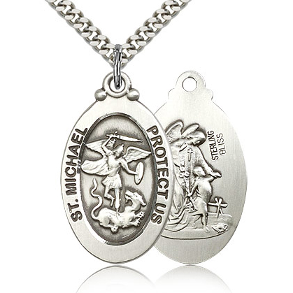 Sterling Silver 1 1/8in St Michael Medal & 24in Chain