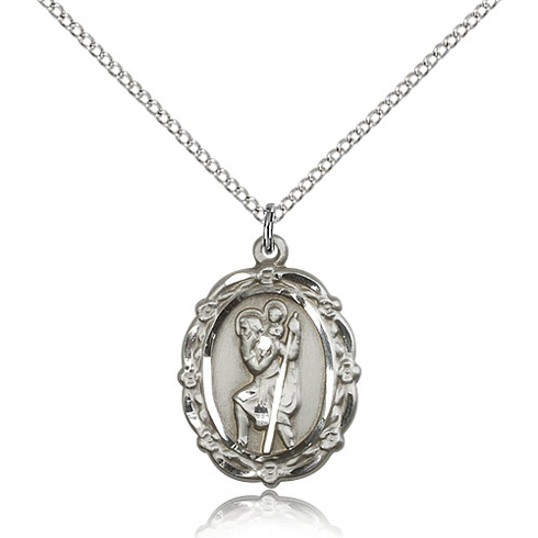 Sterling Silver 7/8in St Christopher Medal & 18in Chain