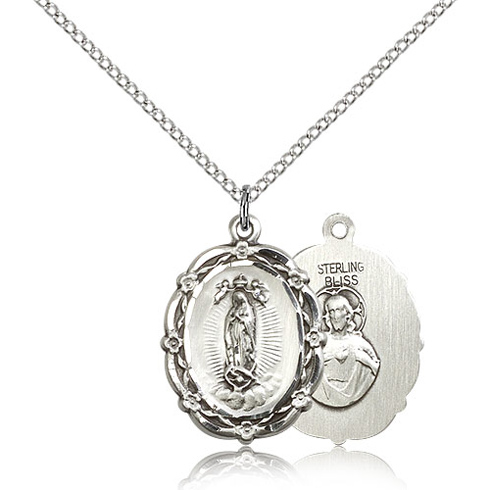 Sterling Silver 7/8in Our Lady of Guadalupe Medal & 18in Chain