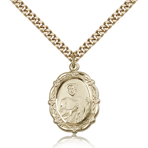 Gold Filled 7/8in St Jude Wreath Medal & 24in Chain