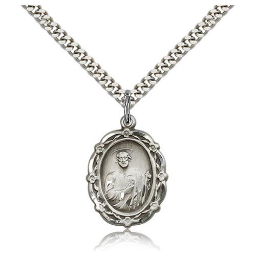 Sterling Silver 7/8in Fancy St Jude Medal & 24in Chain