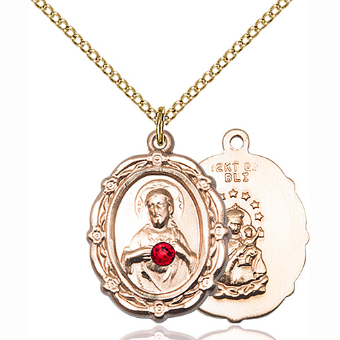 Gold Filled 7/8in Scapular Pendant with 3mm Ruby Bead & 18in Chain