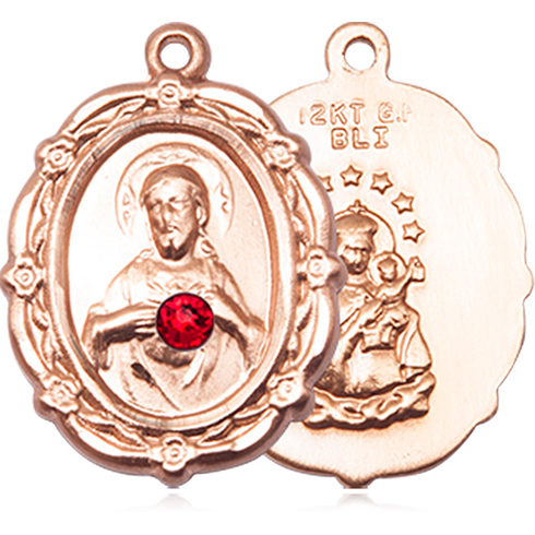 14kt Yellow Gold 7/8in Scapular Medal with 3mm Ruby Bead