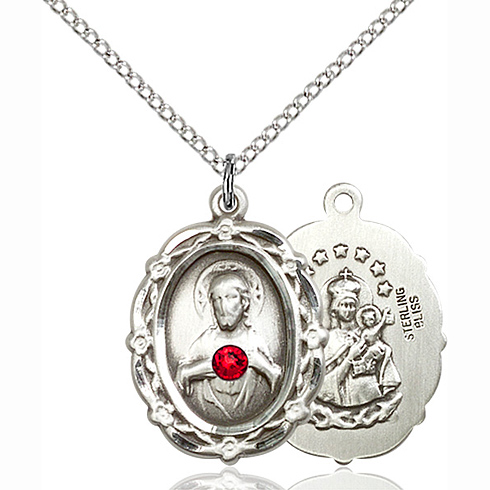 Sterling Silver 7/8in Scapular Pendant with 3mm Ruby Bead & 18in Chain