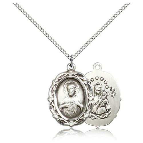 Sterling Silver 7/8in Fancy Scapular Medal & 18in Chain
