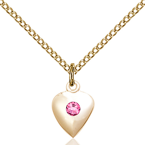 Gold Filled 1/2in Heart Pendant with 3mm Rose Bead & 18in Chain