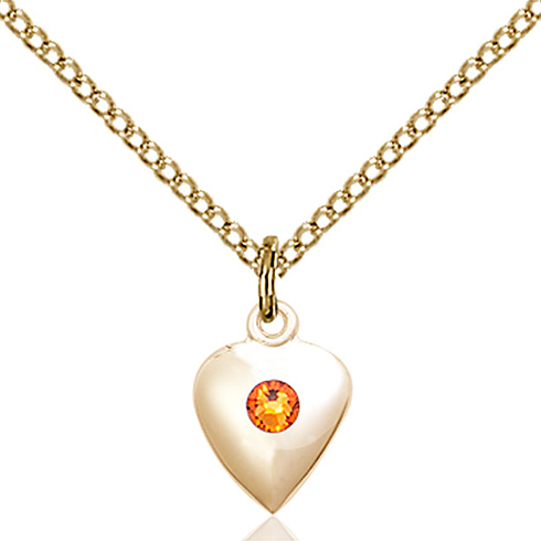 Gold Filled 1 3/8in Heart Pendant with 3mm Topaz Bead & 18in Chain