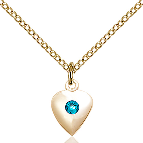 Gold Filled 1/2in Heart Pendant with 3mm Zircon Bead & 18in Chain