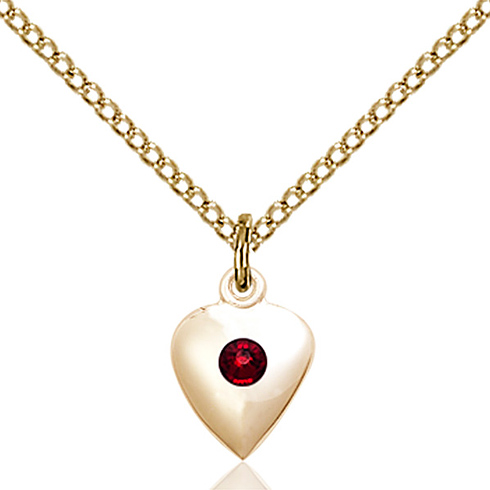 Gold Filled 1/2in Heart Pendant with 3mm Garnet Bead & 18in Chain