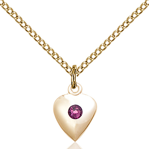 Gold Filled 1 3/8in Heart Pendant with 3mm Amethyst Bead & 18in Chain