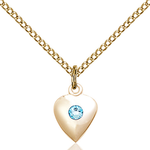 Gold Filled 1 3/8in Heart Pendant with 3mm Aqua Bead & 18in Chain
