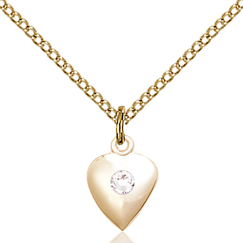 Gold Filled 1 3/8in Heart Pendant with 3mm Crystal Bead & 18in Chain